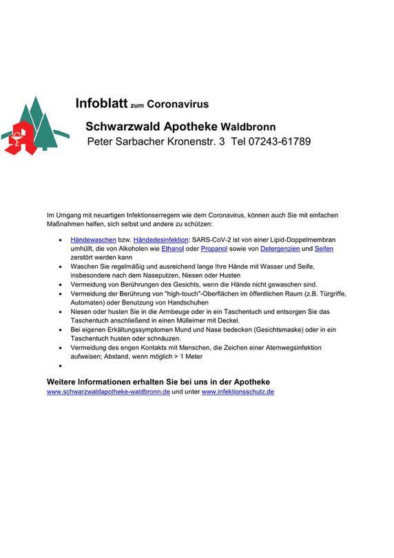 Coronavirus Beratung Schwarzwald Apotheke Waldbronn